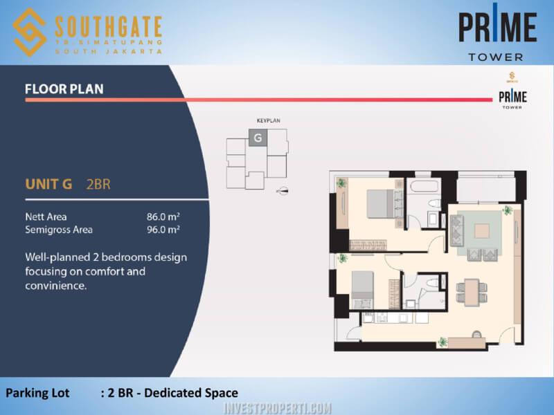 Apartemen Southgate Jakarta Tower Prime Unit 2 BR - Unit G