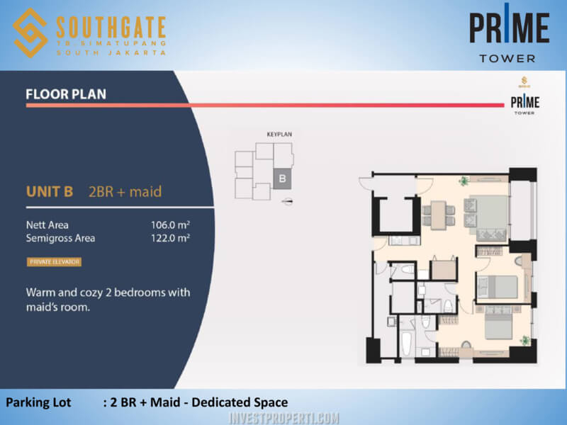 Apartemen Southgate Jakarta Tower Prime Unit 2 BR + Maid
