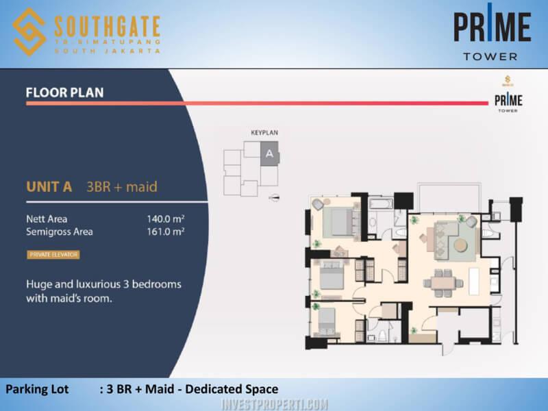 Apartemen Southgate Jakarta Tower Prime Unit 3 BR + Maid