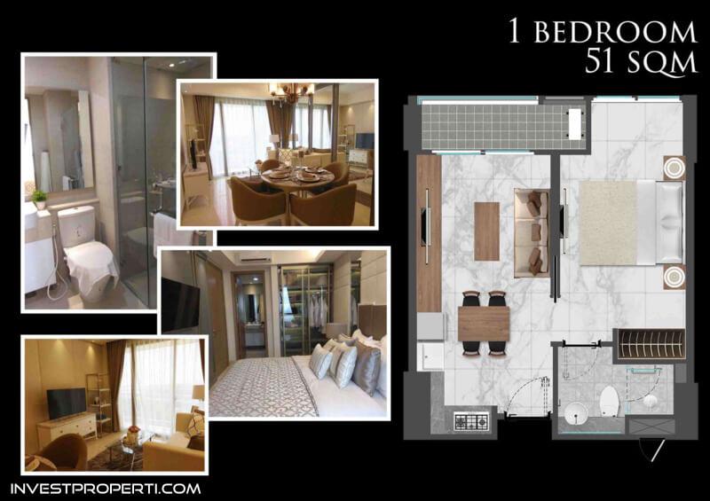 Bahama Tower Apartemen Gold Coast PIK Jakarta Tipe 1 BR