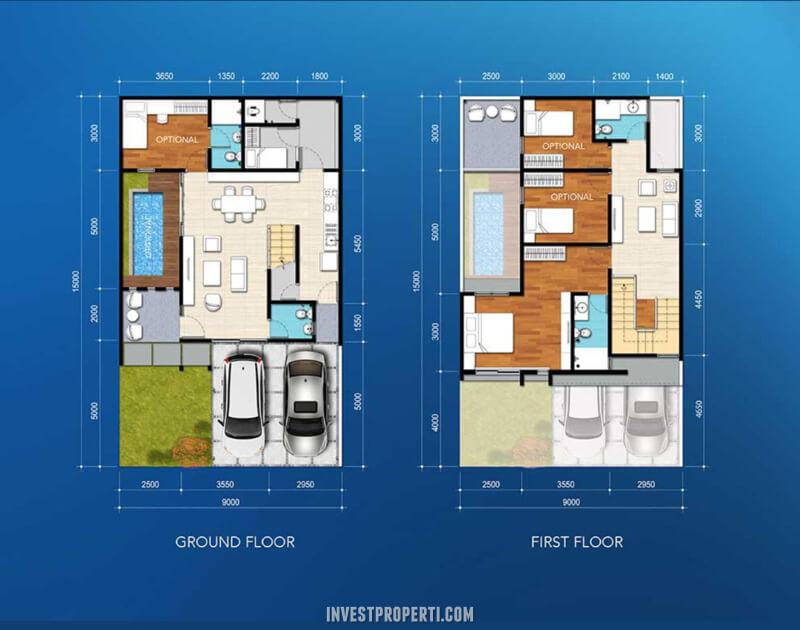 Denah Rumah Cluster Amata The Mozia BSD Tipe 135
