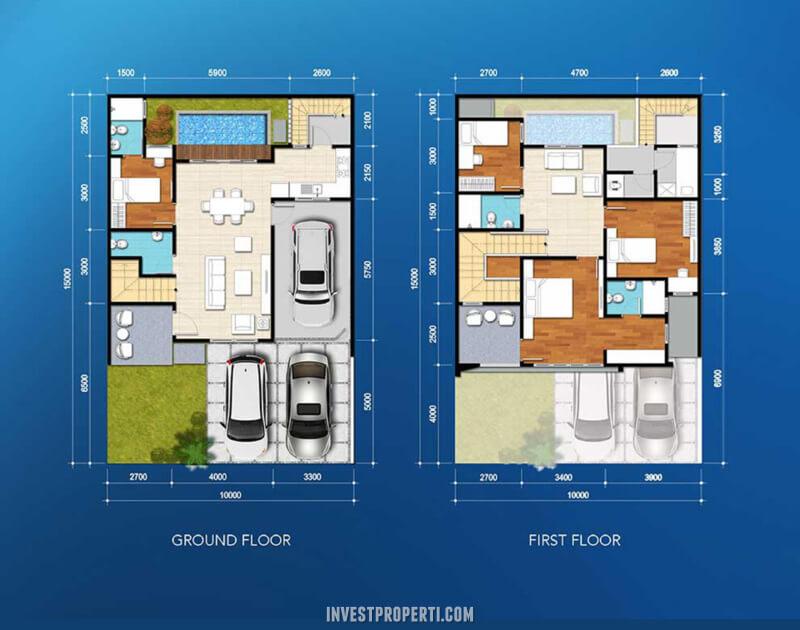 Denah Rumah Cluster Amata The Mozia BSD Tipe 150