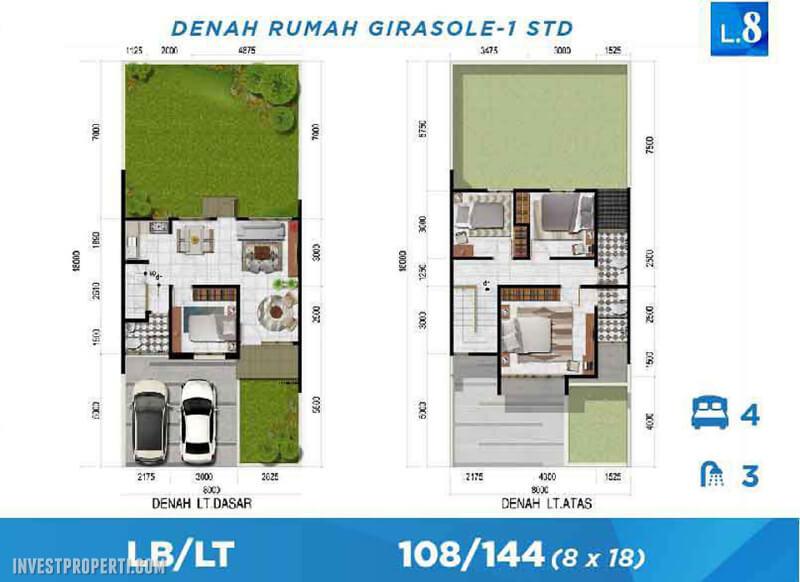 Denah Rumah Cluster Curregia Park Citraraya Tipe Girosole-1