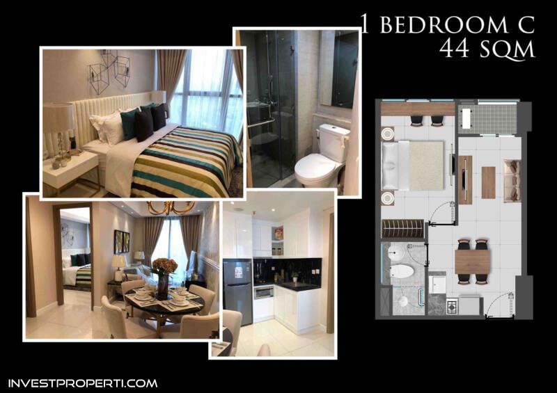 Honolulu Tower Apartemen Gold Coast PIK Jakarta Tipe 1 BR-C