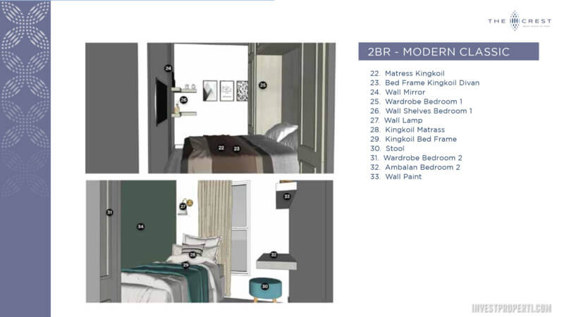 Jual The Crest West Vista Jakarta Tipe 2BR - Interior Design Modern Classic