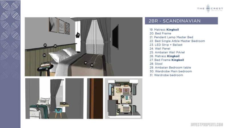 Jual The Crest West Vista Jakarta Tipe 2BR - Interior Design Scandinavian