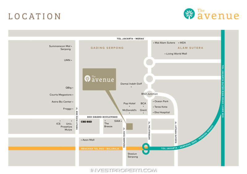 The Avenue BSD Serpong Apartment Map Location
