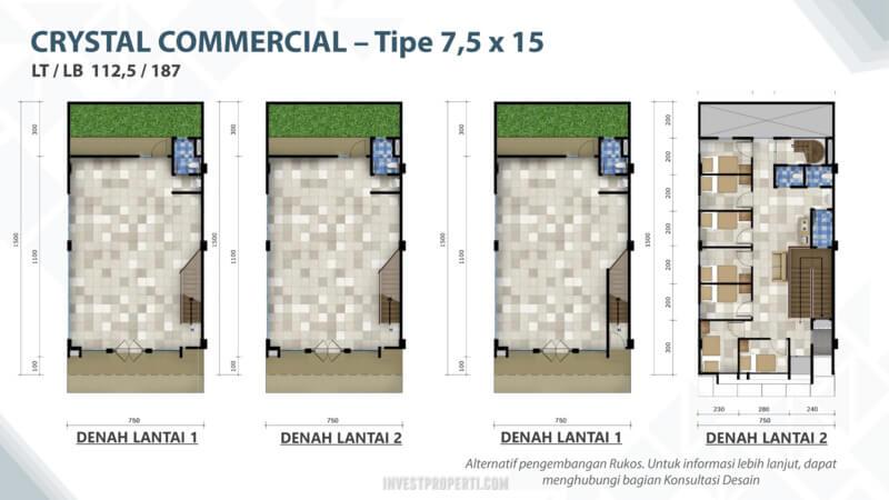 Denah Crystal Commercial Summarecon Bandung Tipe 7.5