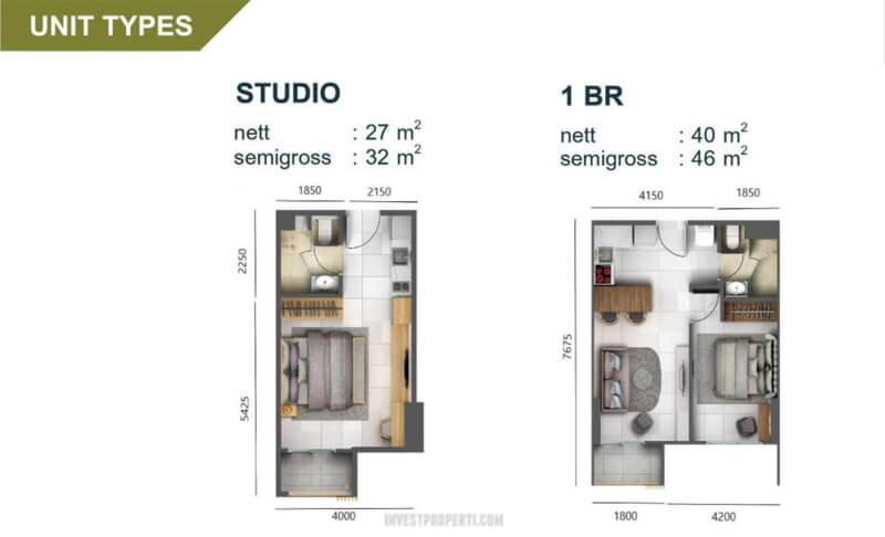 Tipe Unit Apartemen Cleon Park Studio - 1BR