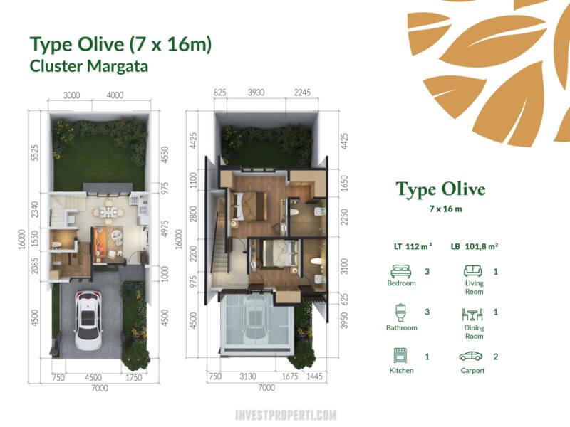 Denah Rumah Cluster Margata Cimanggis Golf Estate Tipe Olive