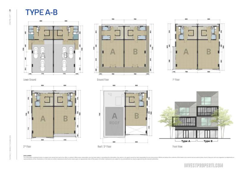 Floor Plan Digital Loft BSD Tipe A-B