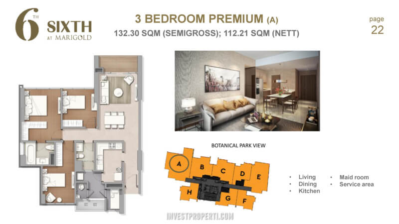 Marigold Navapark BSD Tower 6th 3 Bedroom