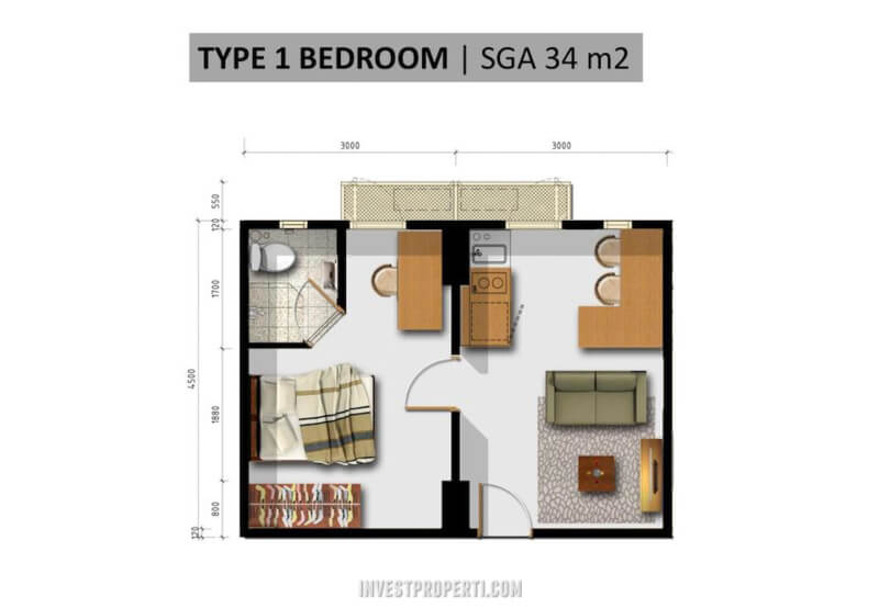 My home Sentul City Apartemen Tipe 1 BR
