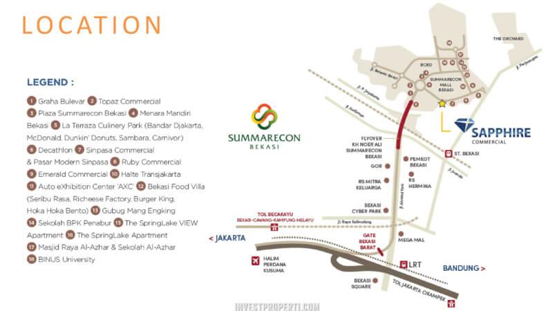 Peta Lokasi Sapphire Commercial Summarecon Bekasi