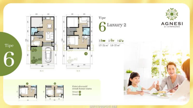 Denah Rumah Cluster Agnesi Symphonia Summarecon Serpong L6 Luxury 2