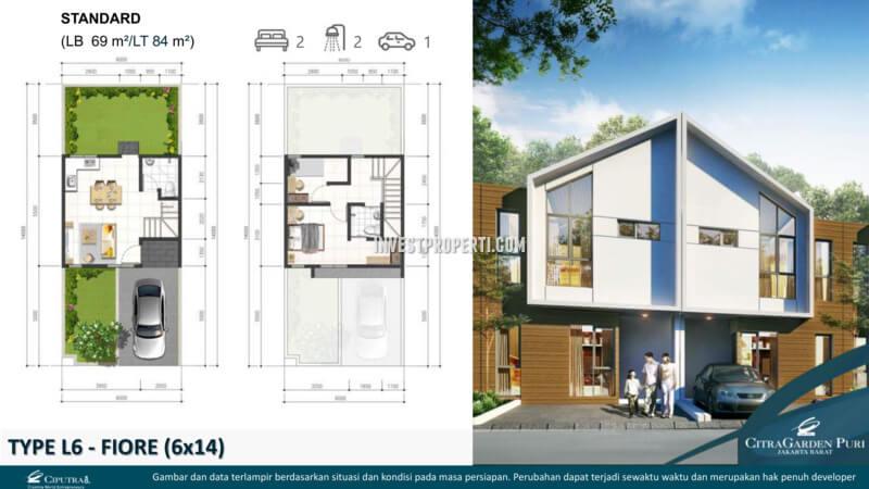 Denah Rumah Fiore L6 - Cluster Brio CitraGarden Puri