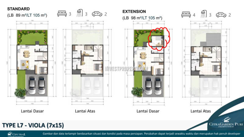 Denah Rumah Viola L7 - Cluster Brio CitraGarden Puri