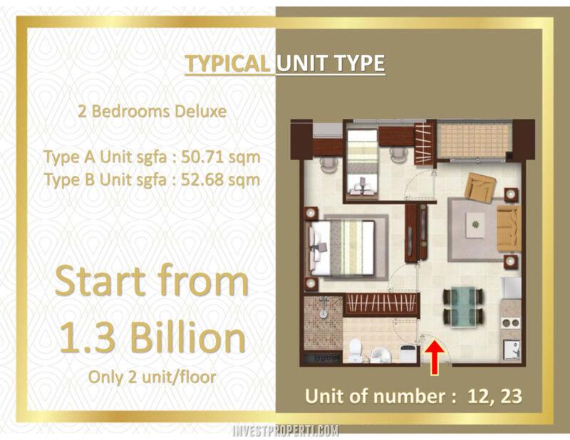 Transpark Bintaro Apartment Tower Manhattan - Tipe 2BR Deluxe Harga Jual