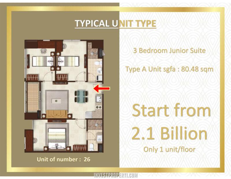 Transpark Bintaro Apartment Tower Manhattan - Tipe 3BR Junior Harga Jual