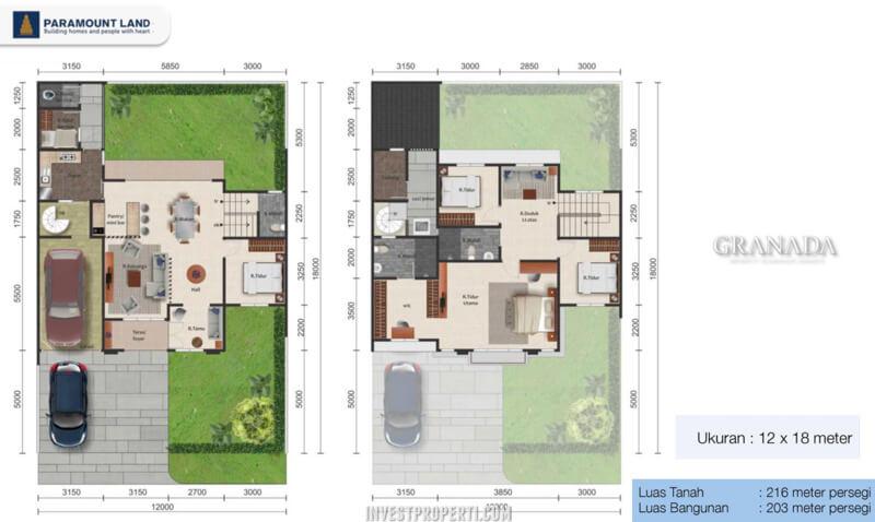 Denah Rumah Granada Alicante Village Tipe L12