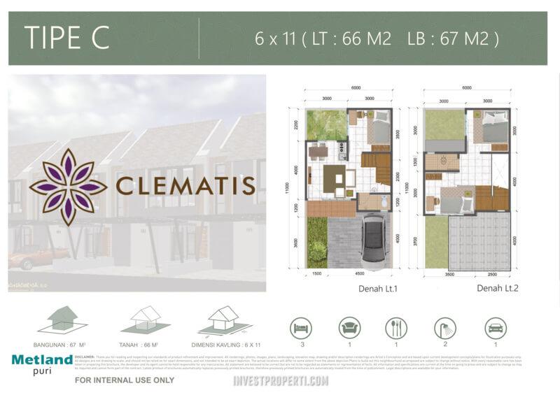 Denah Rumah Clematis Metland Puri Tipe C