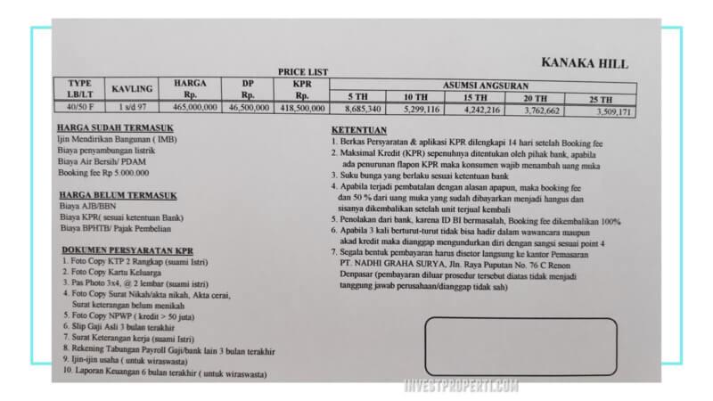 Price List Harga Rumah Kanaka HIll Bali