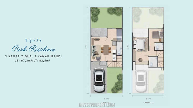 Denah Rumah Waterfront Estate Lippo Cikarang Tipe 2A