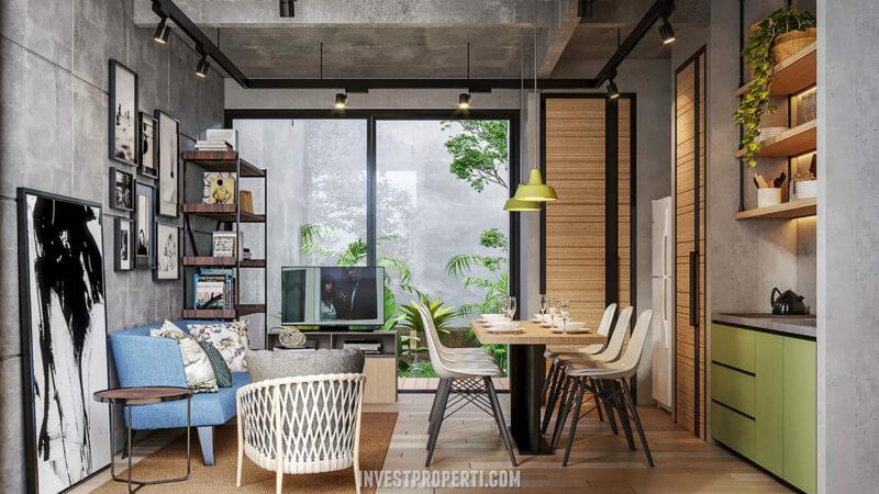 Design Ruang Tamu Rumah Waterfront Estate Lippo Cikarang