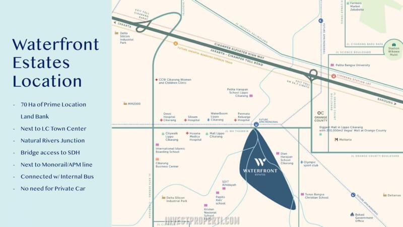 Peta Lokasi Waterfront Estate Lippo Cikarang