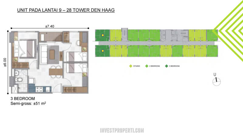 3 BR - Apartemen Citra Landmark Tower Denhaag Lantai 9-29