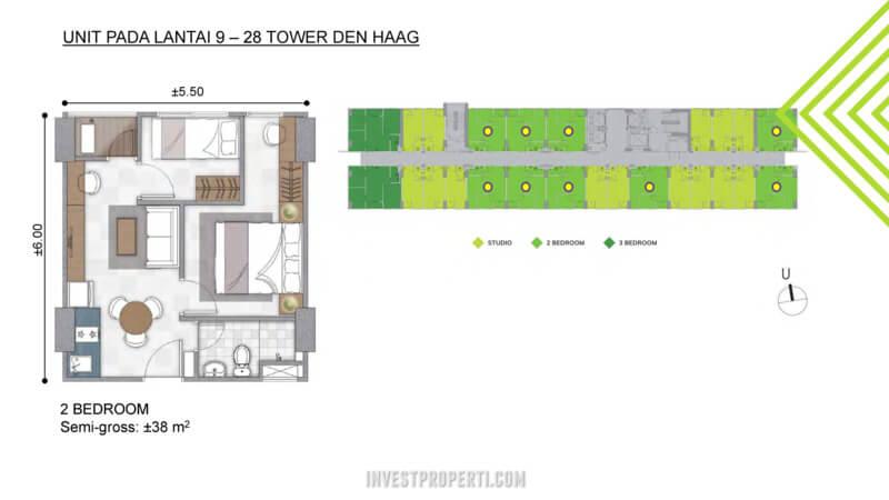 2 BR- Apartemen Citra Landmark Tower Denhaag Lantai 9-29