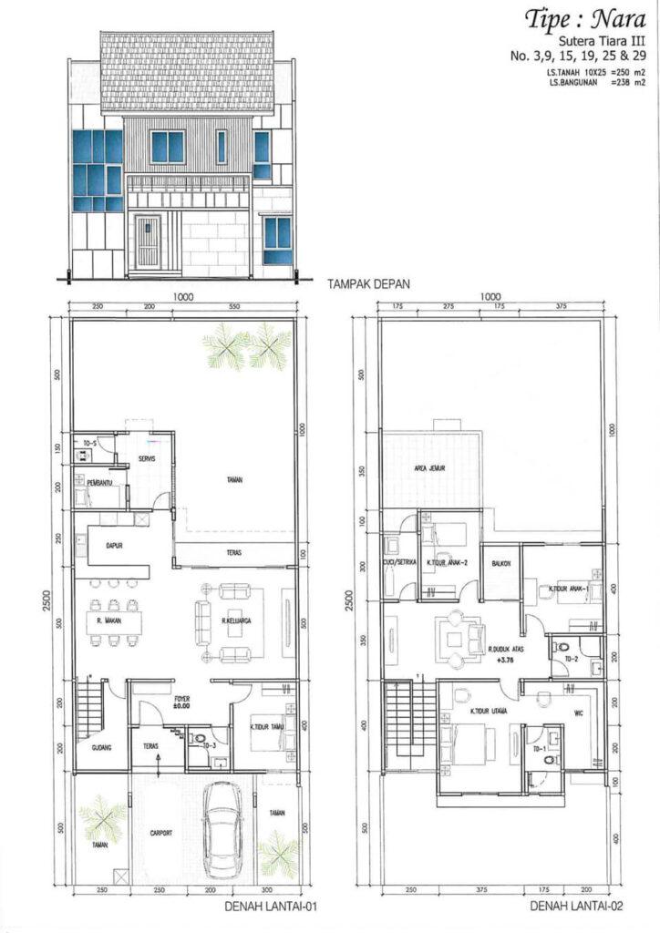 Denah Lantai Rumah Sutera Tiara Tipe Nara 1