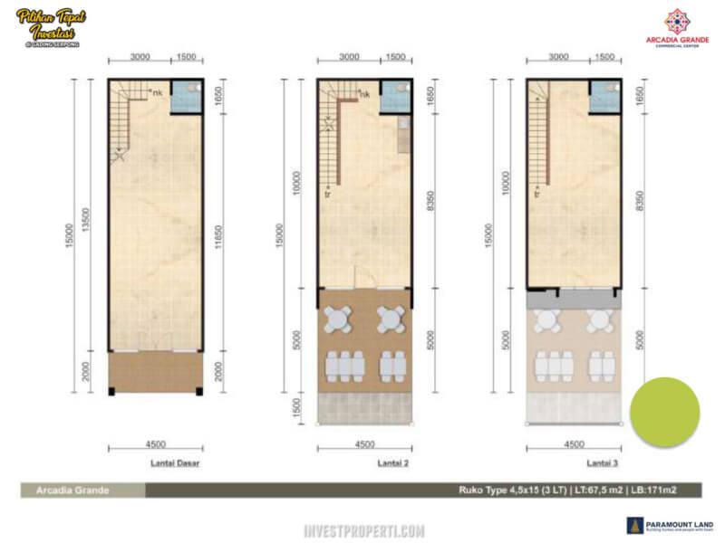 Denah Ruko Arcadia Grande Paramount Land Tipe 4.5x15