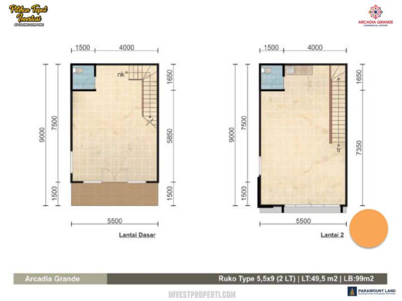 Denah Ruko Arcadia Grande Paramount Land Tipe 5.5x9