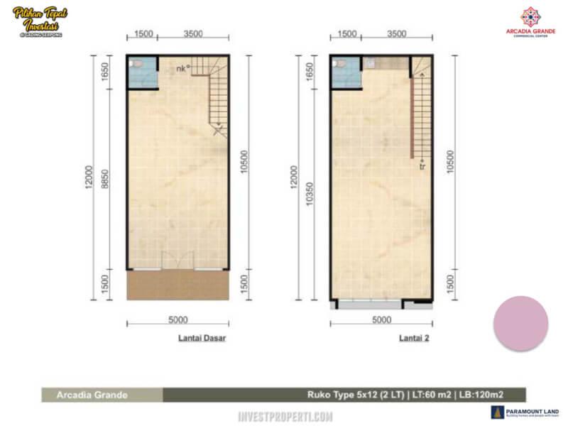 Denah Ruko Arcadia Grande Paramount Land Tipe 5x12