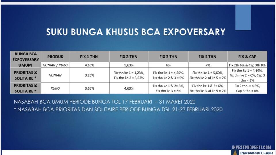 Promo Paramount - Suku Bunga Khusus BCA Expoversary