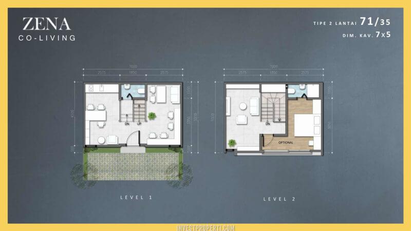 Rumah Zena at The Mozia BSD (Co-Living) Denah 2 Lantai