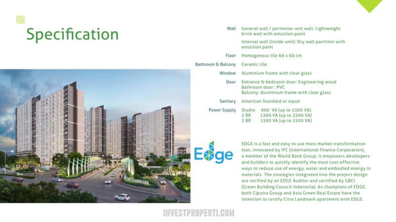 Spesifikasi Apartemen Citra Landmark