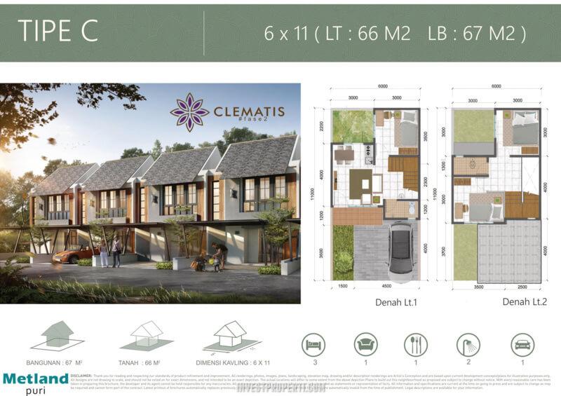 Rumah Cluster Clematis Metland Puri Tipe C