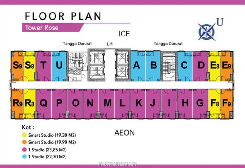 Floor Plan B-Residence BSD Tower Rose