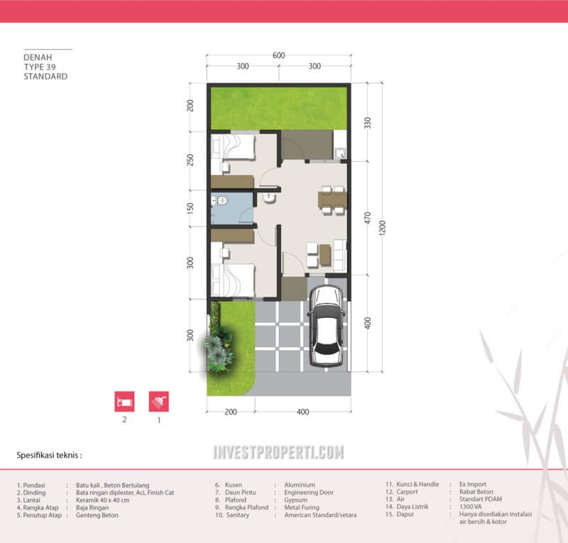Denah Rumah Kana Park Cluster Hana Tipe 39
