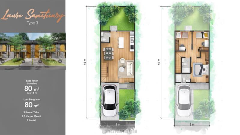 Tipe 3 Rumah Cendana Homes Lippo Karawaci