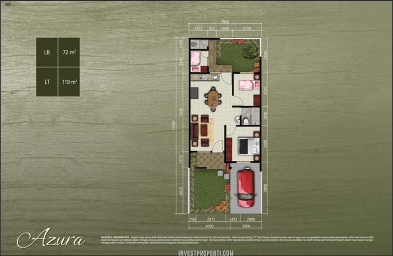 Cluster Abira - Denah Rumah Tipe Azura