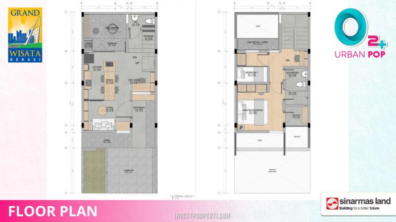 Denah Rumah O2+ Urban Pop Grand Wisata Bekasi