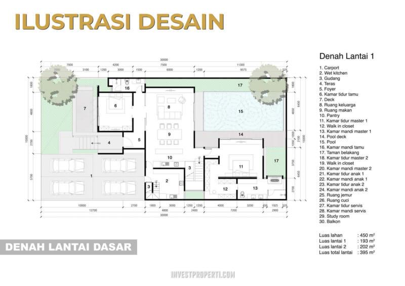 Denah Rumah Pantai Bukit Villa PIK2 Lantai 1