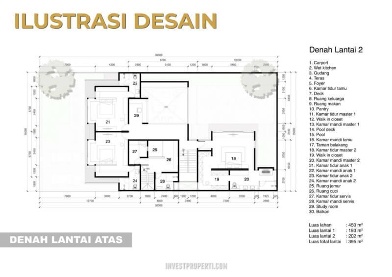 Denah Rumah Pantai Bukit Villa PIK2 Lantai 2
