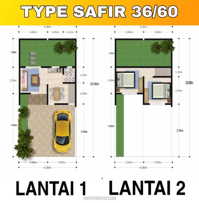 Denah Rumah Ambassador Park Tipe Safir