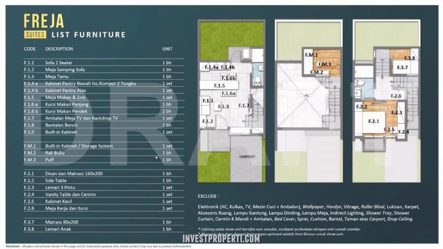 List Furniture Rumah Freja BSD