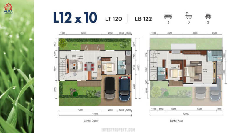 Denah Rumah Alma Montana Village Tipe L12x10