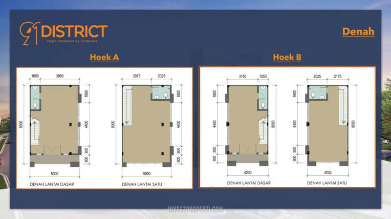 Denah Ruko 91 District BSD Tipe Hoek A & B